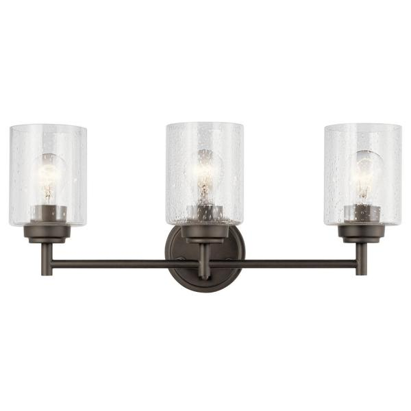 Winslow 3-Light Olde Bronze Vanity Light with Clear Seeded Glass