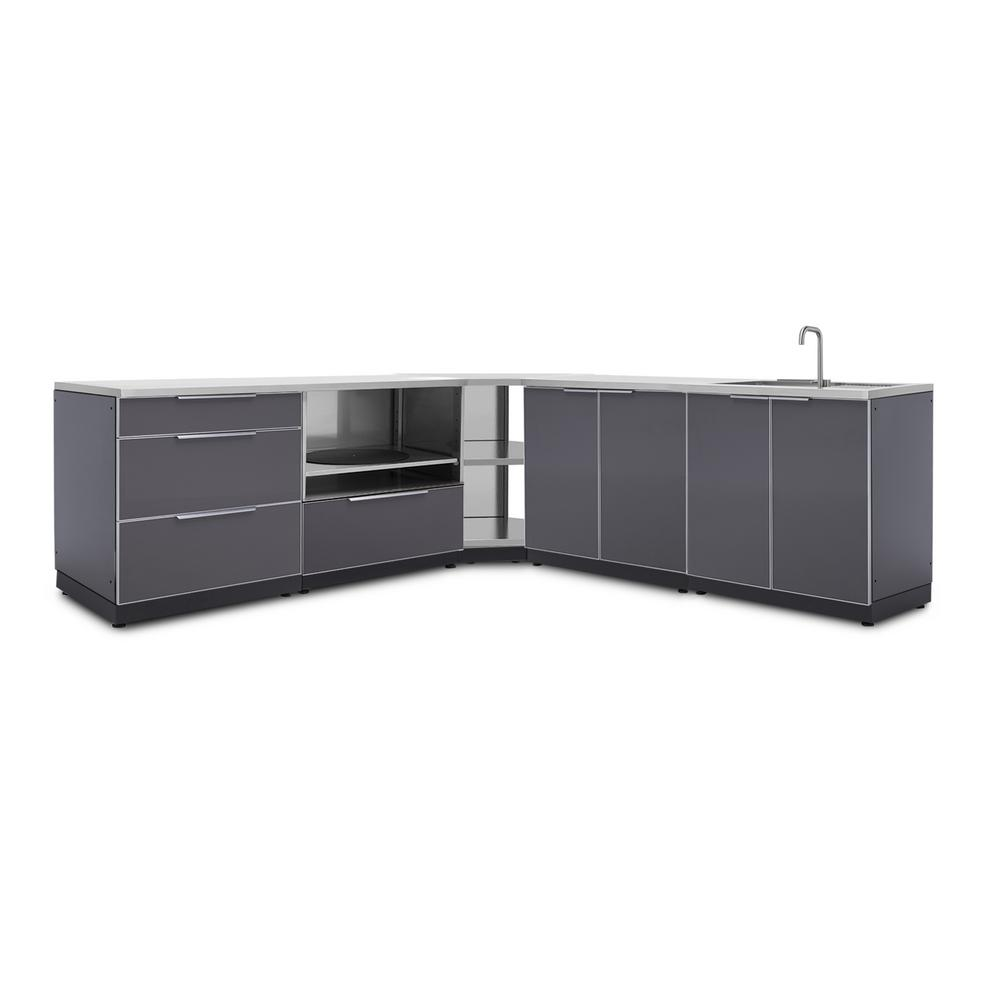 Kitchen Cabinet Set: NewAge Products Slate Gray 7-Piece 112.38 In. W X 36.5 In
