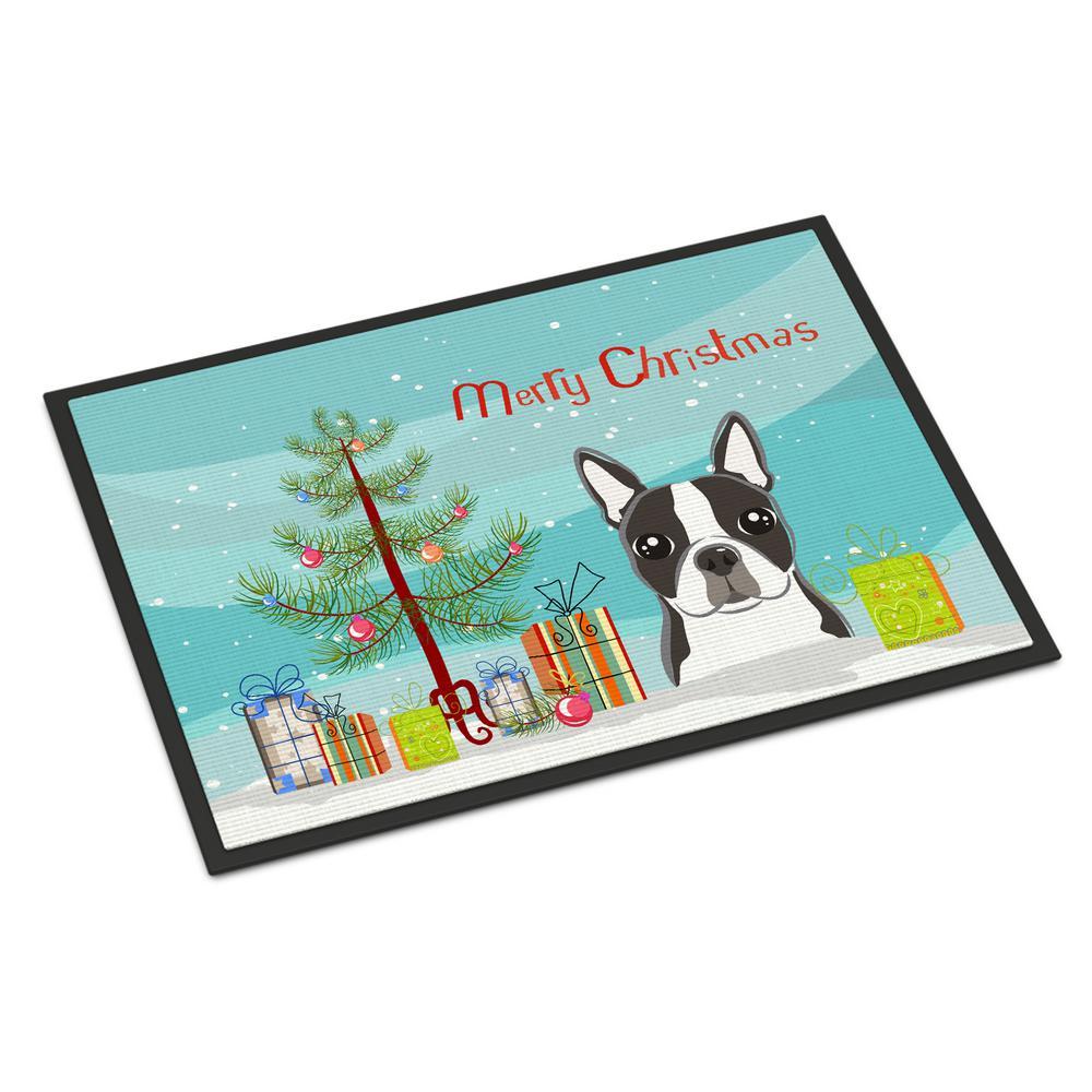 18 in. x 27 in. Indoor/Outdoor Christmas Tree and Boston Terrier Door Mat