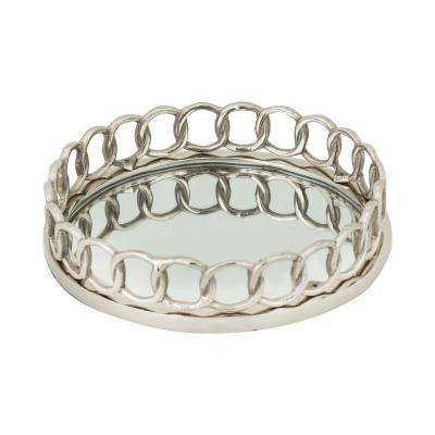 Nickle Ring 12 in. x 3 in. Round Brass And Mirror Decorative Tray in Nickel Finish