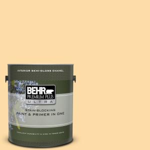 1 gal. #300A-3 Melted Butter Semi-Gloss Enamel Interior Paint and Primer in One