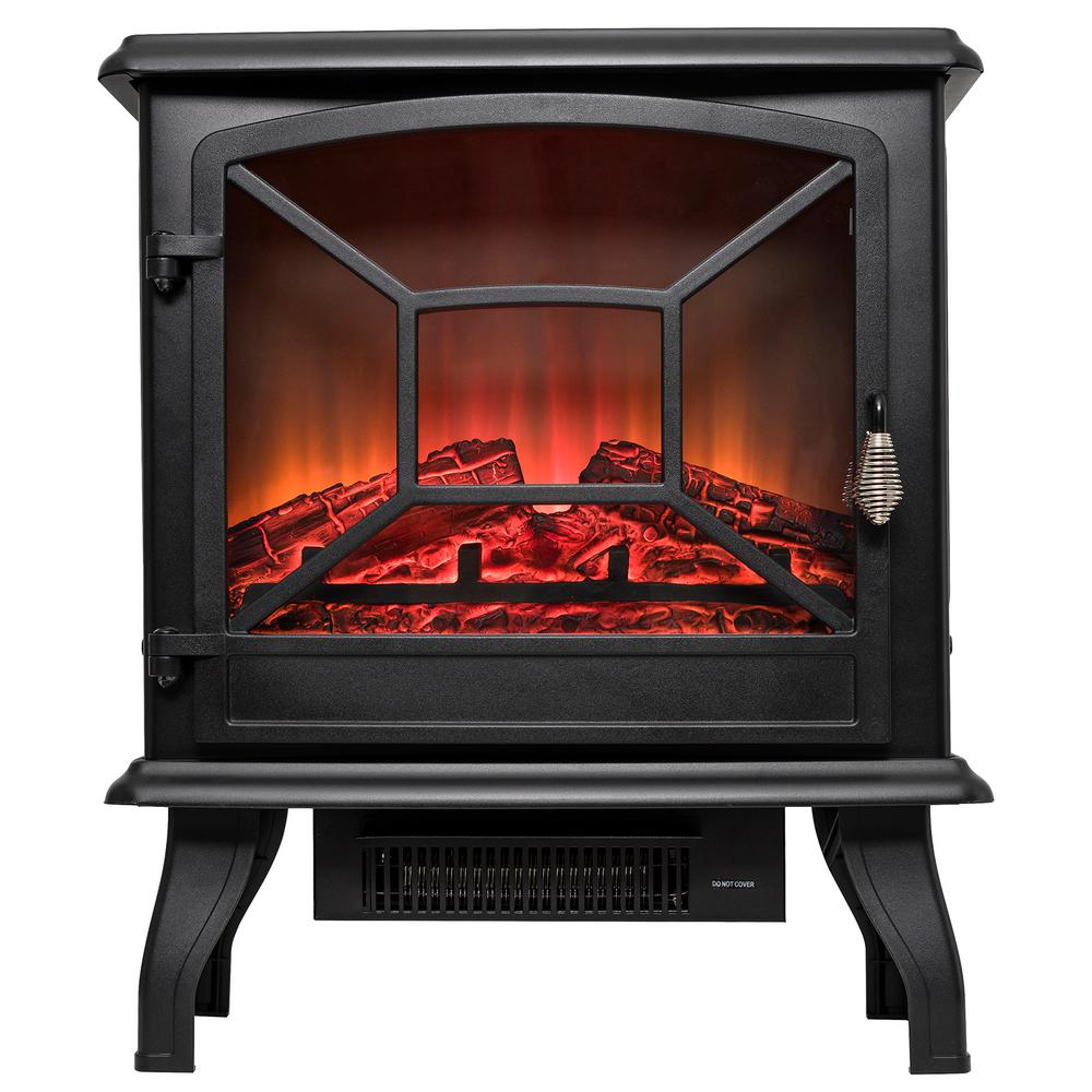 20 in. Freestanding Electric Fireplace Mantel Heater in Black with Tempered