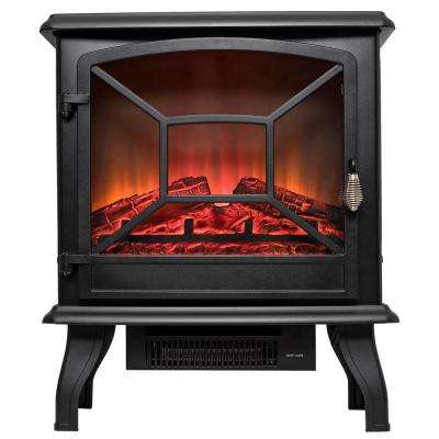 20 in. Freestanding Electric Fireplace Mantel Heater in Black with Tempered Glass and Logs