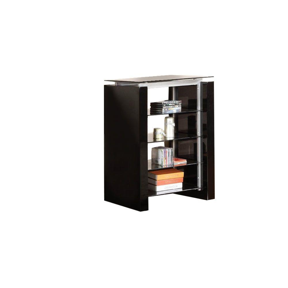 Furniture of America Felix Audio Tower with 8mm Tempered Blass Glass Top