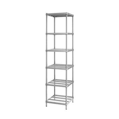 MeshWorks 6-Shelf Metal Silver Freestanding Narrow Shelving Unit