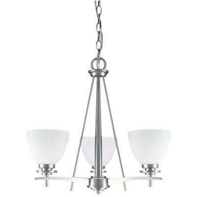 New Yorker 3-Light Brushed Pewter Chandelier with Flat Opal Glass Shade