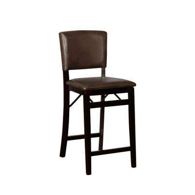 Brown/Espresso Vinyl Seat Foldable Folding Chair
