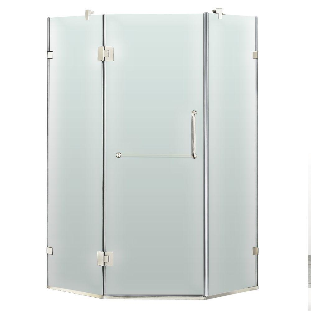 Vigo 36 in. x 73 in. Frameless Neo-Angle Shower Enclosure in Chrome with Frosted Glass