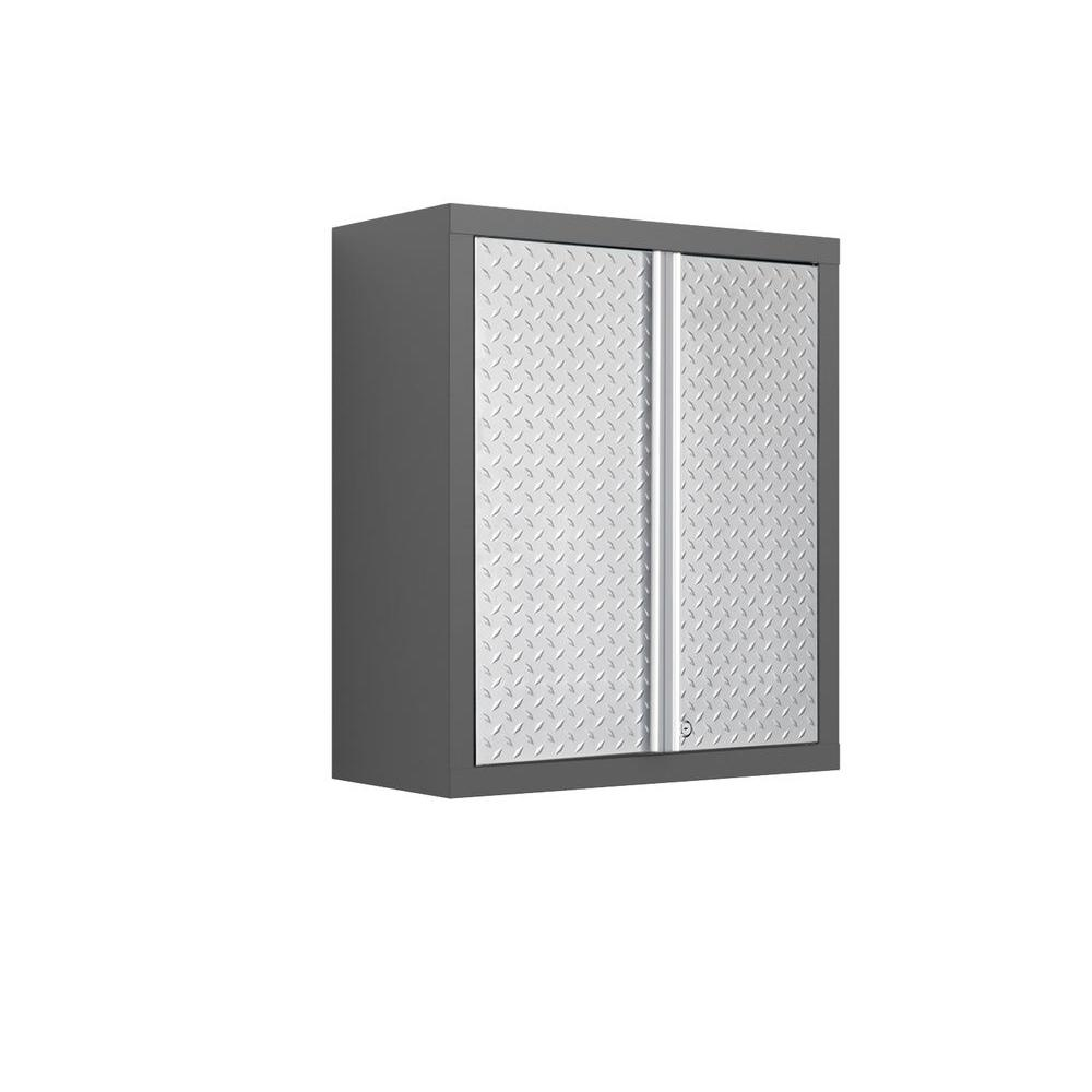 NewAge Products Bold Diamond Plate Series 30 in. H x 26 in. W x 12 in. D Welded 23-gauge Steel Wall Cabinet