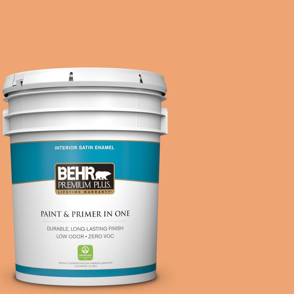 5 gal. #HDC-SP16-04 Apricot Jam Zero VOC Satin Enamel Interior Paint