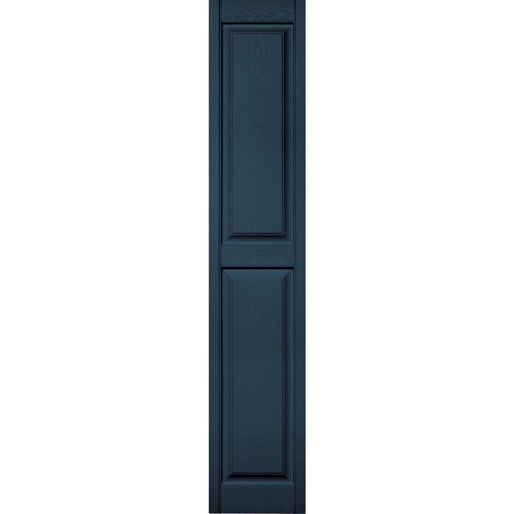 Builders Edge 15 in. x 80 in. Raised Panel Vinyl Exterior Shutters Pair #036 Classic Blue