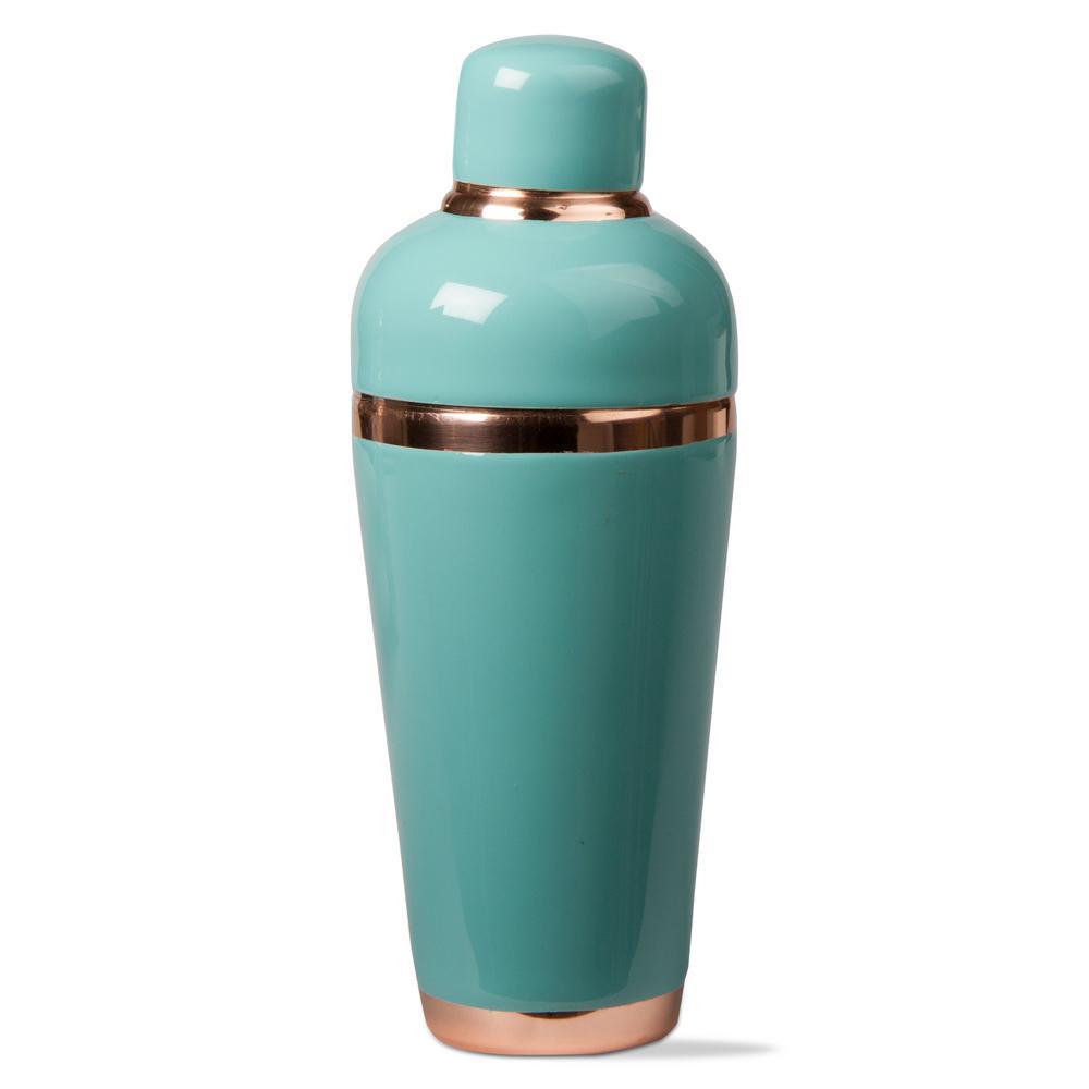 3-Piece Aqua Enamel Cocktail Shaker