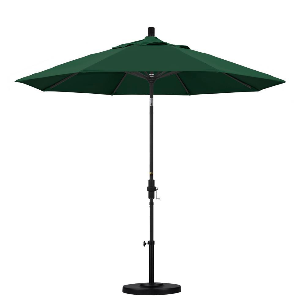 9 ft. Aluminum Collar Tilt Patio Umbrella in Hunter Green Olefin