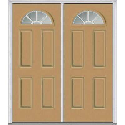 72 in. x 80 in. GBG Right-Hand 1/4 Lite 4-Panel Classic Painted Fiberglass Smooth Prehung Front Door