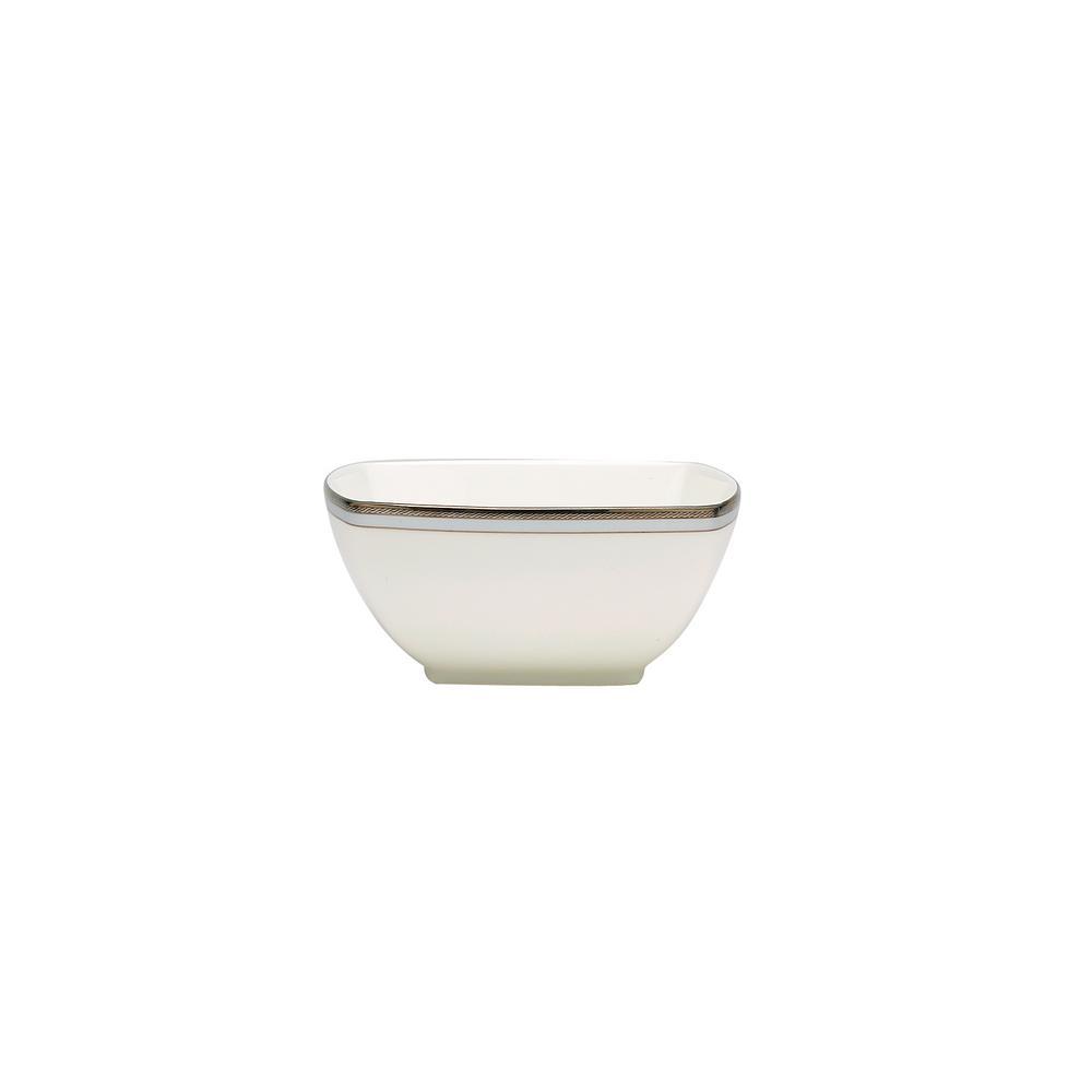 Aegean Mist White Porcelain Medium Square Bowl, 5.75'', 30 oz.