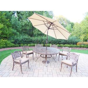 9-Piece Aluminum Outdoor Dining Set with Table 6 Cushioned Aluminum Chairs Metal Umbrella and Metal Stand by