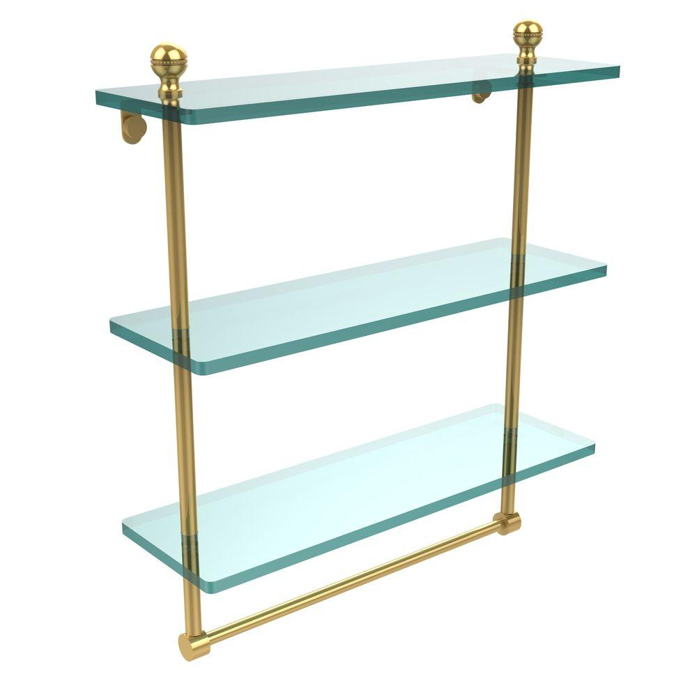 Allied Brass Mambo 16 in. L x 18 in. H x 5 in. W 3-Tier Clear Glass ...