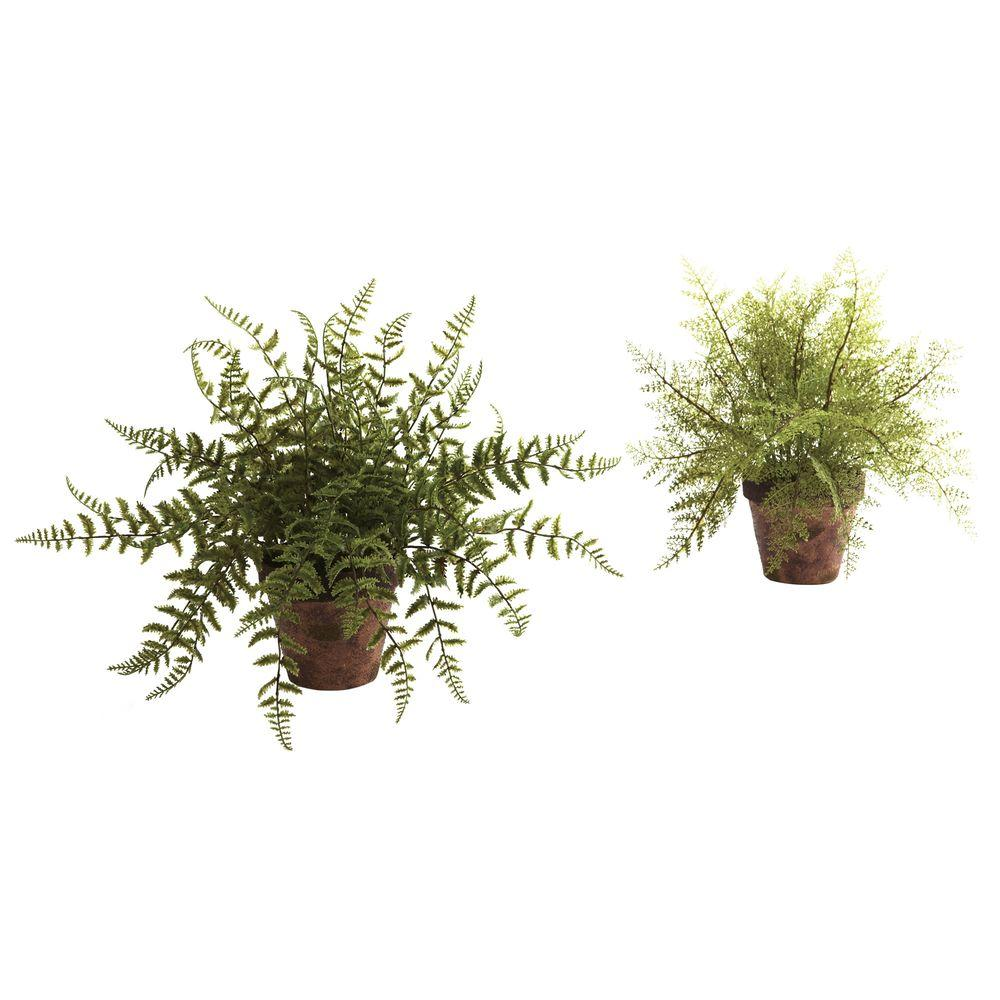 Nearly Natural Fern with Decorative Planter (Set of 2)
