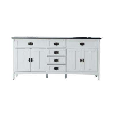 Artisan 72 in. W Vanity in White with Marble Vanity Top in Natural Black with White Basin