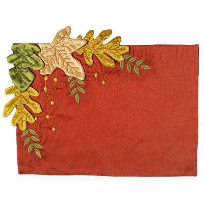 13 in. x 18 in. Leaves Applique with Embroidery Collection Placemat