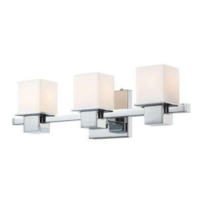 Lexington 3-Light Chrome and White Opal Glass Vanity Light