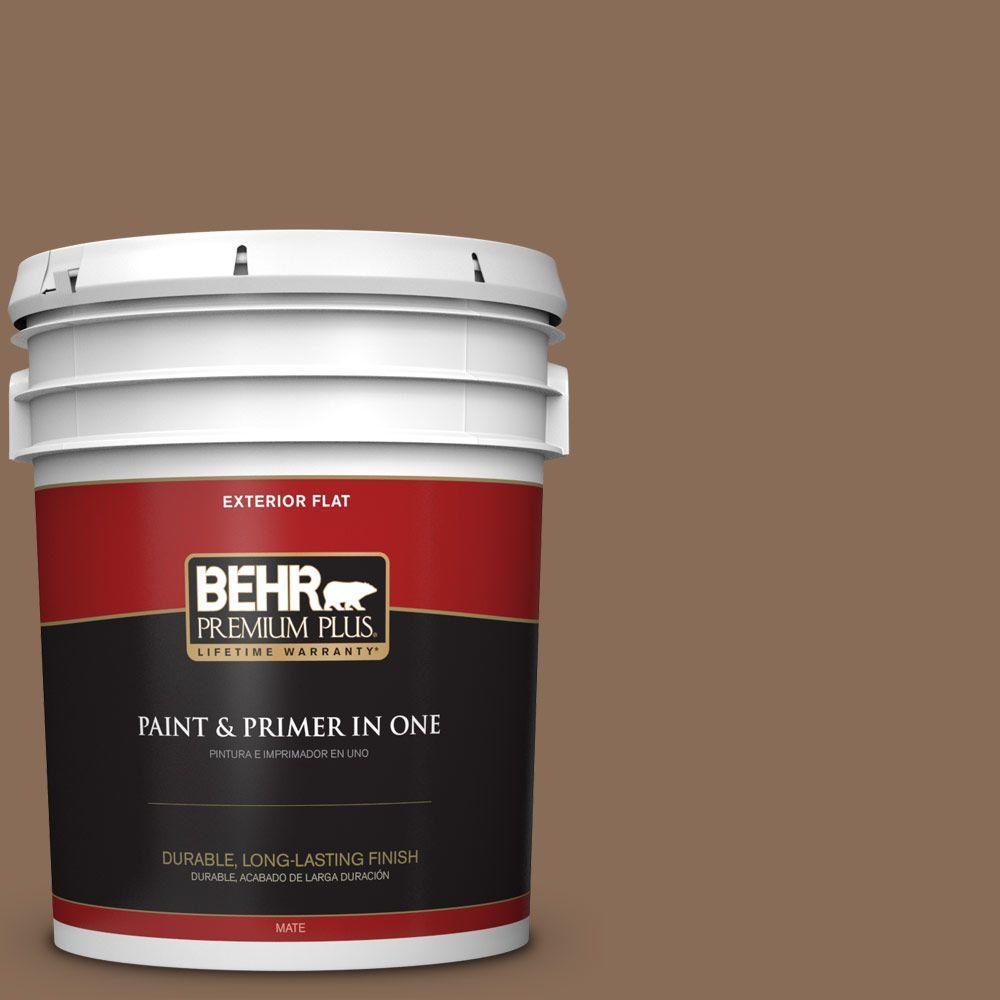 BEHR Premium Plus 5-gal. #BNC-34 Spiced Latte Flat Exterior Paint