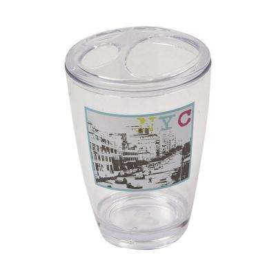 Urban Nyc Clear Acrylic Printed Bath Toothbrush and Toothpaste Holder