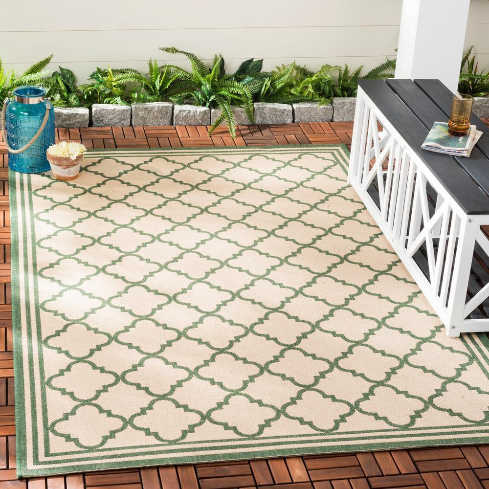 Beach House Cream/Green 8 ft. x 10 ft. Indoor/Outdoor Area Rug