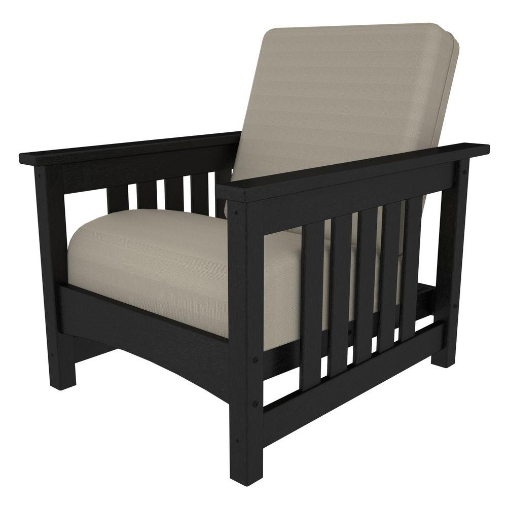 polywood mission black all weather plastic outdoor chair with bird s rh homedepot com plastic lumber outdoor furniture plastic lumber outdoor furniture