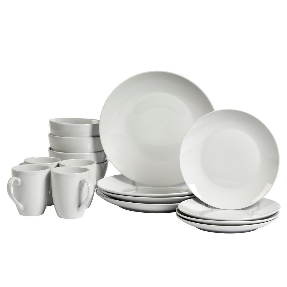 Tabletops Gallery 16-Piece White Coupe Adams Dinnerware Set  sc 1 st  The Home Depot : tabletops dinnerware sets - pezcame.com