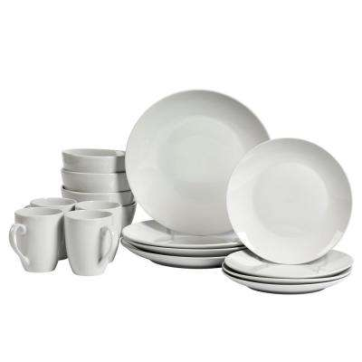 16-Piece White Coupe Adams Dinnerware Set