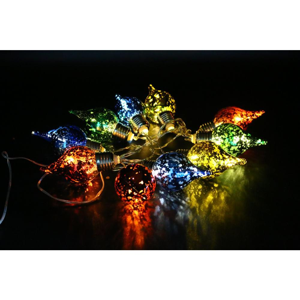 alpine 10 light multi color teardrop bulbs with light string