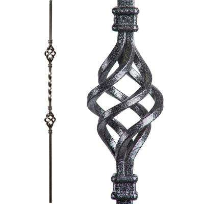 Twist and Basket 44 in. x 0.5 in. Silver Vein Double Basket Hollow Wrought Iron Baluster