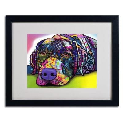 16 in. x 20 in. Savvy Labrador Matted Black Framed Wall Art