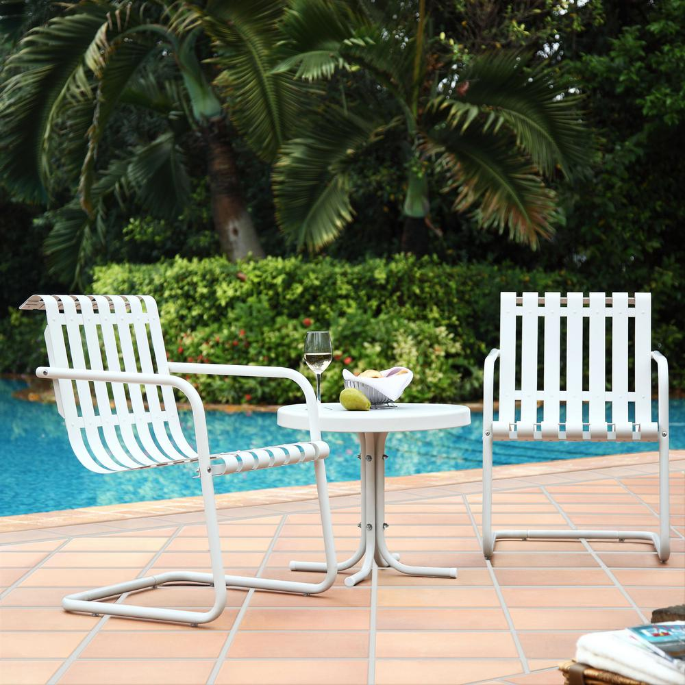 Crosley Gracie 3-Piece Metal Outdoor Conversation Seating Set - 2-Chairs and Side Table in Alabaster White
