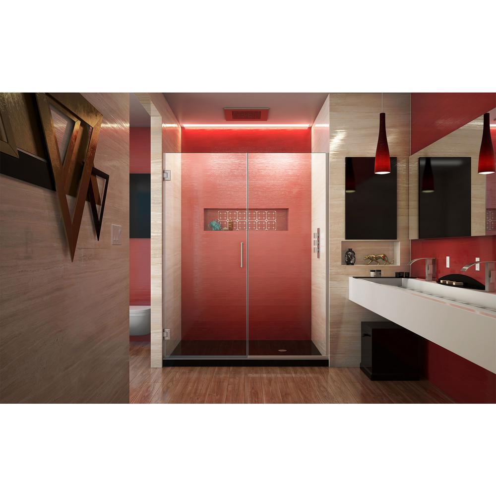 Dreamline Unidoor Plus 58 To 58 5 In X 72 In Frameless Hinged Shower Door In Brushed Nickel Shdr 245807210 04 The Home Depot