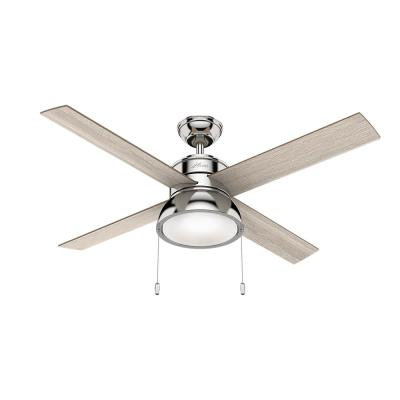 Loki 52 in. Integrated LED Indoor Polished Nickel Ceiling Fan with Light Kit