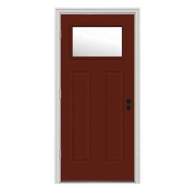 34 in. x 80 in. 1 Lite Craftsman Mesa Red w/ White Interior Steel Prehung Right-Hand Outswing Front Door w/Brickmould