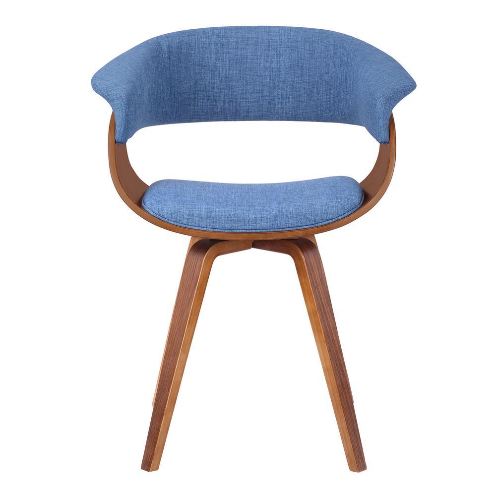 Summer Blue Fabric Walnut Wood Mid-Century Chair
