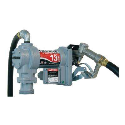 13 GPM 12-Volt DC Fuel Transfer Pump 1/4 HP Motor and 10 ft. Static Wire Hose and Manual Nozzle with Suction Pipe