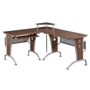 Mahogany Deluxe L-Shaped Tempered Frosted Glass Top Computer Desk with Pull Out...