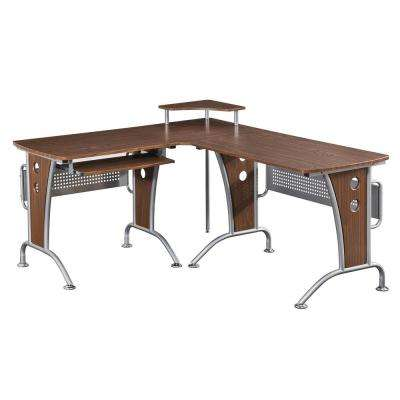 Mahogany Deluxe L-Shaped Tempered Frosted Glass Top Computer Desk with Pull Out Keybaord Panel