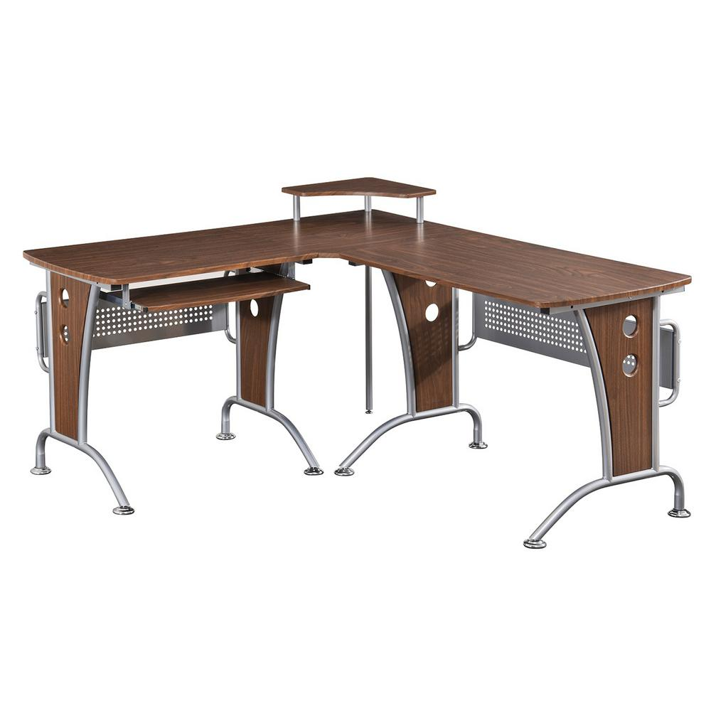 Techni Mobili Mahogany Deluxe L Shaped Computer Desk With Pull Out Keybaord  Panel