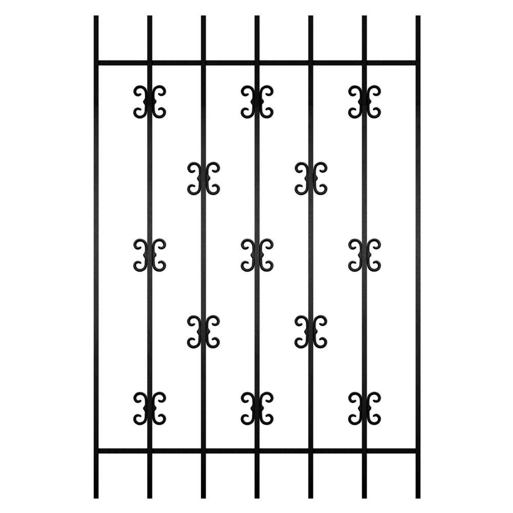 Unique Home Designs Moorish Lace 36 in. x 54 in. Black 7-Bar Window Guard-DISCONTINUED