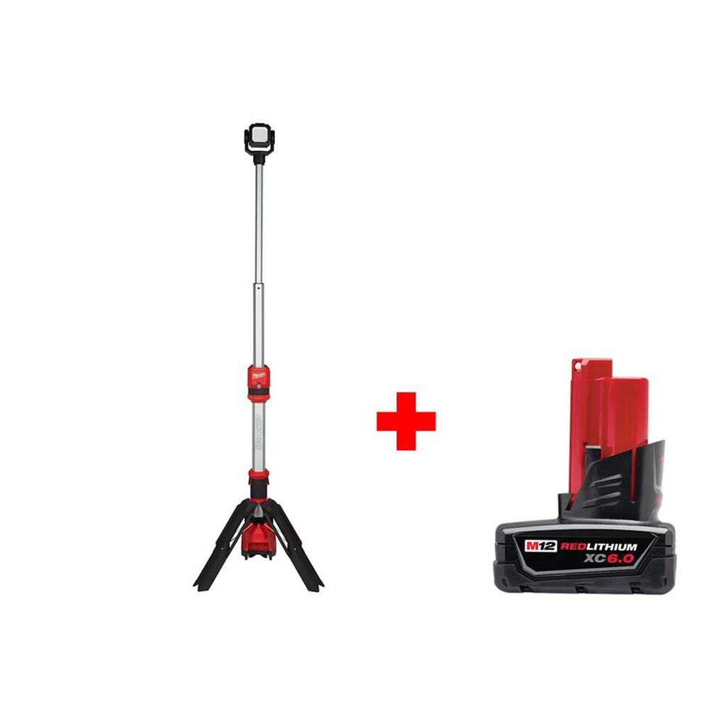 Milwaukee M12 12-Volt Lithium-Ion Cordless 1400 Lumen ROCKET LED Stand Work Light with Free 6.0 Ah M12 Battery
