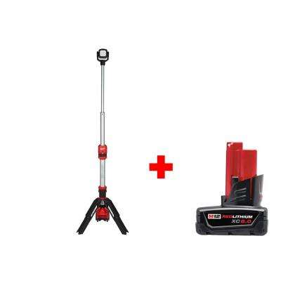 M12 12-Volt Lithium-Ion Cordless 1400 Lumen ROCKET LED Stand Work Light with Free 6.0 Ah M12 Battery