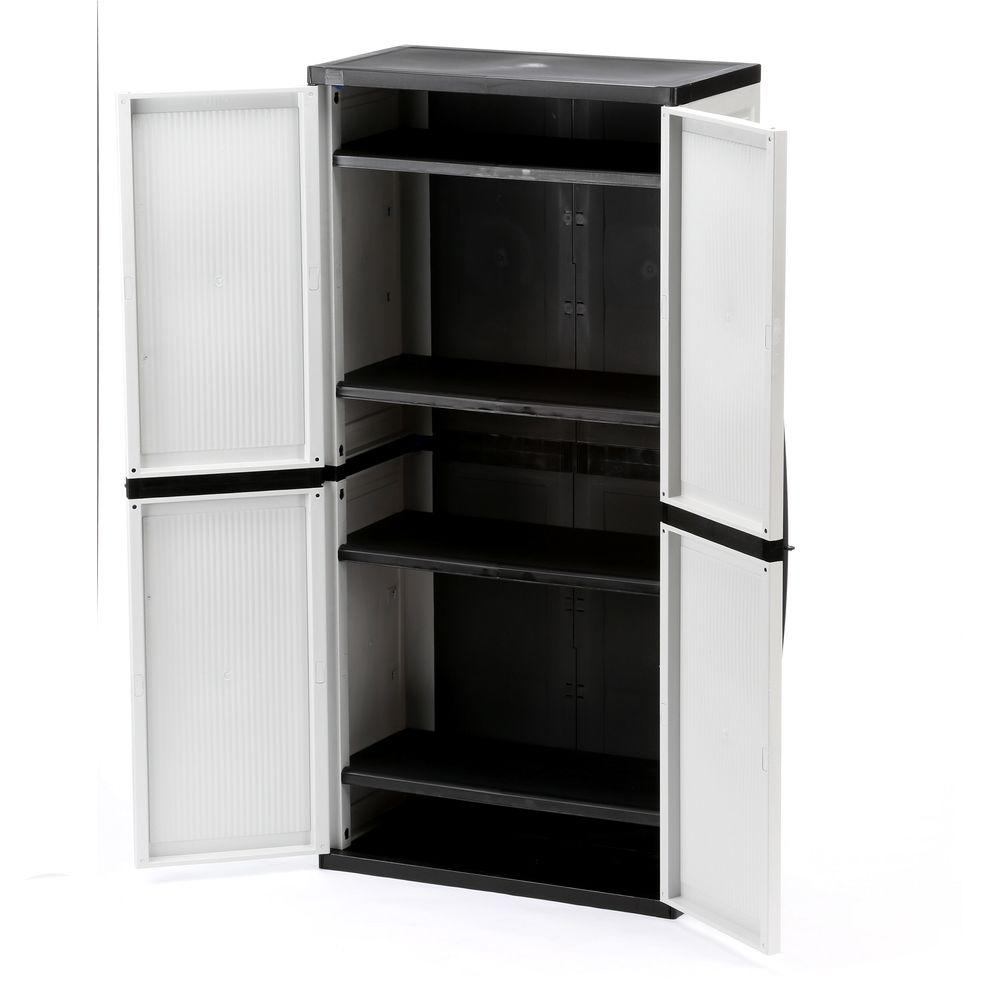 W 4 Shelf Plastic Multi Purpose Cabinet