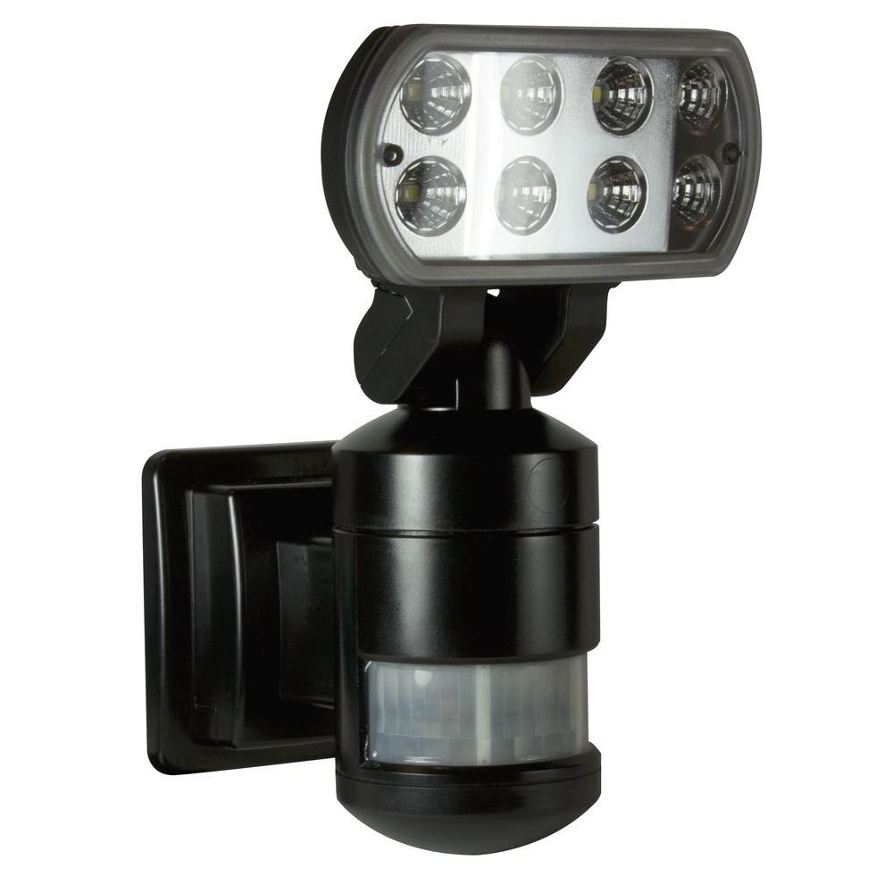 NightWatcher Security 220-Degree Outdoor Black Motorized Motion-Tracking LED Security Light