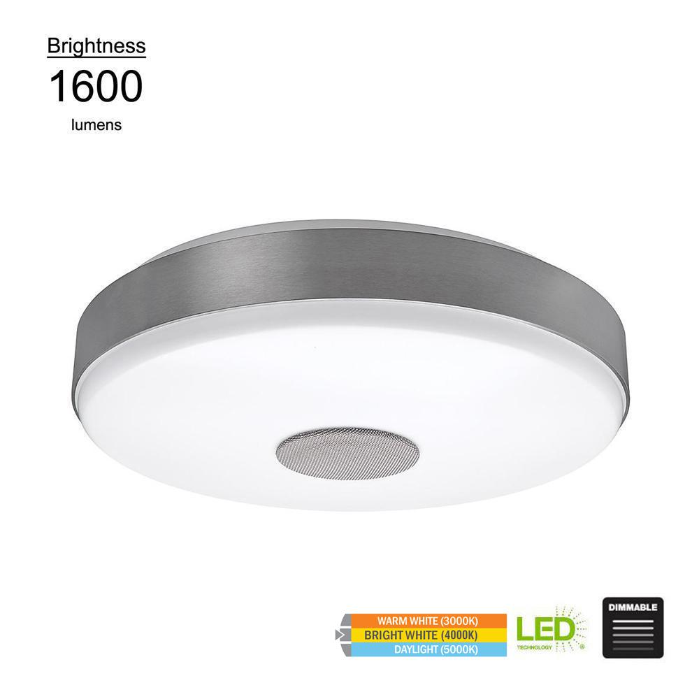 Round Brushed Nickel Integrated Led Flush Mount With Bluetooth Speaker And Color Changing Feature
