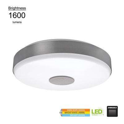 Smart Home  15 in. Round Brushed Nickel Integrated LED Flush Mount with Bluetooth Speaker and Color Changing Feature